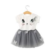 Girl Dress,Haoricu Fall Kids Baby Cute Cat Pattern Shirt Top Tutu Skirt Girls Dress Set