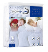 Cotton Terry Mattress Encasement By Snore Secure | Fitted Style, Waterproof, Breathable, Hypoallergenic, Vinyl Free | Protection Against Bed Bugs & Dust Mites | Noiseless, No Crinkling