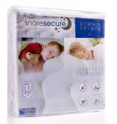 Cotton Terry Mattress Protector By Snore Secure   Fitted Style, Waterproof, Breathable, Hypoallergenic, Vinyl Free   Protection Against Bed Bugs & Dust Mites   Noiseless, No Crinkling