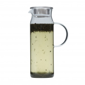 Brilliant - Jasmine Glass Water Jug, Tea Jug with Stainless Steel Filter Lid, 1.2 Litres