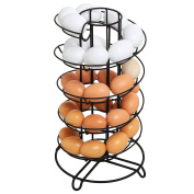 Modern Spiral Design Kitchen Counter-Top Black Metal Egg Skelter / Storage Organiser Rack for Eggs