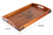 BandTie Solid Wood Serving Tray,Wooden Tray for Tea/Coffee/Wine/Food-Used As Rectangular Wooden Platter/Decorative Tray/Breakfast Tray/Party Platter/Nesting/Kitchen and Dining with Handles,Small Size