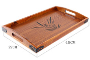 BandTie Solid Wood Serving Tray,Wooden Tray for Tea/Coffee/Wine/Food-Used As Rectangular Wooden Platter/Decorative Tray/Breakfast Tray/Party Platter/Nesting/Kitchen and Dining with Handles,Large Size
