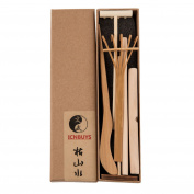 ICNBUYS Professional Mini Zen Garden Tools Set three rakes One Bamboo Drawing Pen One Pushing Sand Pen