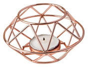 50 Geometric Design Rose Gold Metal Tealight Candle Holder From Fashioncraft