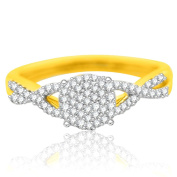 10K Yellow Gold Diamond Promise Ring Engagement Ring for Her 1/4ctw Infinity Style