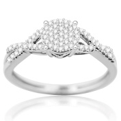 10K White Gold Diamond Promise Ring Engagement Ring for Her 1/4ctw Infinity Style
