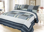 Plaid Printed Bedspread Quilt Set, Twin, Cadet Grey