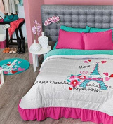 Girls Paris City of Love Bedding Collection (Twin Size Bedspread) by VNG