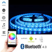 Solarphy 5050 LED Strip Light 16.4ft (5m) 300 LEDS Waterproof Colour Changing LED Strip RGB Rope Light Kit With Bluetooth Smartphone APP Controller & 24V 5A Power Supply for iPhone Android