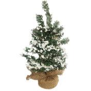 Mini Christmas Tree Snow Glittered w Burlap Base 30cm DC-5945 by Darice