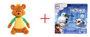 Disney Junior Goldie and Bear Talking Bear Plush - Brown and Olaf's in Trouble Game - Bundle