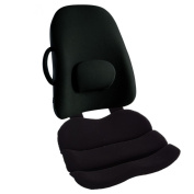 Obus Forme Combo Ergonomic Orthopaedic Low Back Backrest And Contoured Seat Cushion - Back/Stress Pain Relieve -BLACK