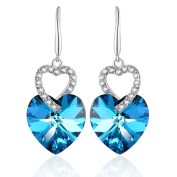 PLATO H Heart of Ocean Earrings with Crystals Fashion Jewellery Christmas Gift for Her, Blue