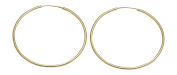 14K Yellow Gold Continuous Endless Hoop Earrings,