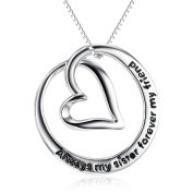 """YFN Sterling Silver """"Always My Sister Forever My Friend"""" Love Heart Pendant Necklace 46cm"""
