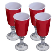 Red Cup 470ml Stemmed Wine Glass - 4-Pack