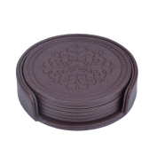 Coasters Set,Classic Pattern Faux Leather Coaster Set of 6 with Holder Protect Furniture by Happydavid