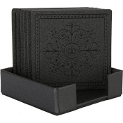 HappyDavid Black Leather Square Coasters Cup Mat Set of 6 with Coaster Holder for Fine Wine Beer or Any Beverage Use on Bars or Fine Furniture in Your Kitchen