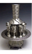 Flower Quilted Design Pewter 8 Cup Kiddush Wine Fountain