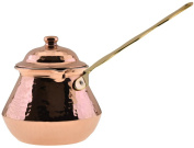 CopperBull Gorgeous Turkish Greek Hammered Copper Coffee Pot Ibrik Briki with Lid, 2mm Thick Copper
