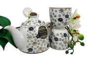 Atlantic Collectibles Japanese Cherry Blossom 410ml Ceramic Tea Pot and Cups Set Serves 2 People