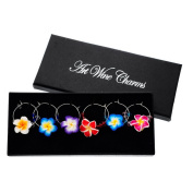 Souarts Mixed 6pcs Polymer Clay Flower Pendants Wine Glass Charms Marker with Gift Box