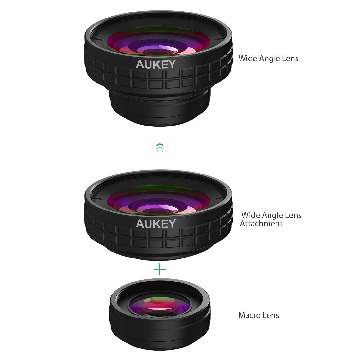 AUKEY Ora iPhone Lens, 0 45x 140° Wide Angle + 10x Macro Clip-on Cell Phone  Camera Lenses Kit for Samsung , Android Smartphones, iPhone