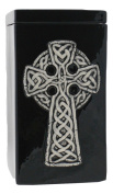 Black Celtic Cross Funeral Urn - Cremation Urn for Human Ashes - Hand Made Pottery