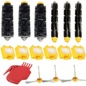 Elaco For Irobot Roomba(700 760 770 780)Vacuum Cleaner Replacement Part Kit - Includes 4x Hepa Filter,3 x Bristle Brush,3 x Flexible Beater Brush,3 x 3-Armed Side Brush,6 x Filters,1 x Cleaning tool