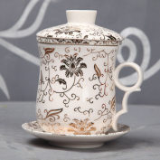 ufengke®White Ceramic Porcelain Chinese Flower Tea Cup With Lid Filter And Saucer