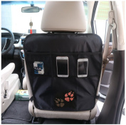 DoubleVillages Car Back Seat organiser /Car Children Kick Mats / Car Seat Back Protector Mat / Car Auto seat back storage Bag Organiser /Car Auto seat travel pouch -Waterproof -BearFeet 2 Pcs