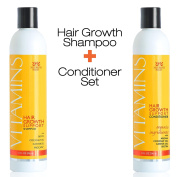 VITAMINS Hair Loss Shampoo and Conditioner 296ml - Argan Oil, Biotin & Caffeine - Best Hair Growth Product for Men and Women - Clinically Proven Regrowth Treatment, 3 Month Supply
