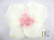 ROC 1 Hair Flower White/Pink with Crystal Clear swarovsksi. Hair accessories and jewellery. Roc Crystals at the heart of the flower Repositionable Mounting Cold and with Clip. 1 per order.