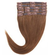 60cm Clip in Human Hair Extensions Full Head Set 8 Piece Straight 100% Real Remy Hair 06# Light Brown 110g