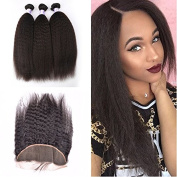 Peruvian Human Hair Weave With Lace Frontal Closures Yaki Straight Human Hair With Lace Frontal Closures For Full Head Style