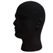 Fulltime(TM) Male Styrofoam Foam Flocking Head Model Wig Glasses Display Stand Black