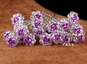 Mont Cherry 10pcs/lot Rose Flower Crystal Rhinestone Wedding Party Bridal Prom Hair Pin Hair Clips Accessory sold by Trendz