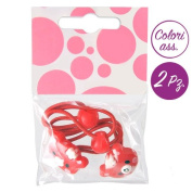 Hair Clip - Set 2 Bands for Hair Girl with Teddy Bear red