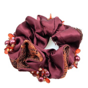 rougecaramel - Hair Accessories/Elastic Hair Scrunchie Set Fabric and Beads - Burgundy Red