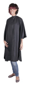 Professional BLACK Deluxe Hairdressing Gown - Heavy Duty, Water-Repellent, Adjustable Neck