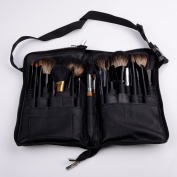 Demiawaking 32 Pockets Professional Artificial Leather Nail Brush Zipper Bag Cosmetic Pen Pencil Holder Makeup Brush Bag with Belt Strap