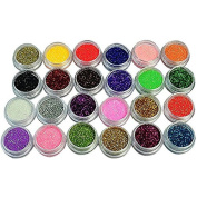 Biutee 24 Colours Nail Glitter Powder Dust 3D Tip Manicure Tools Nail Art Decoration Polish Powder Dust Gem Decoration