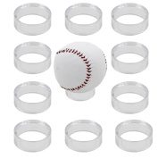10 Clear Round 2.5cm - 1.3cm Bevelled Ring Display Stand Pedestal for Golf Ball Baseball Softball Eggs Spheres Puzzle Balls No Ball Included