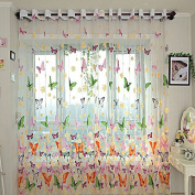 Starworld Floral Butterfly Tulle Curtain, Printed Sheer Voile Window Screening for Door Balcony Window Drape Valances