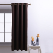 Blackout Curtain Eyelet Nursery Décor - PONY DANCE Premium Drakening Top Ring Super Soft Solid Interwoven Lining Thermal Insulated Blackout Curtain for Nursery , Room Darkening , One Panel, 130cm x 160cm (Width by Length), Brown
