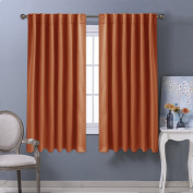 Blackout Curtain Window Treatments Panels - PONYDANCE Thermal Insulated Room Darkening Back Tab & Rod Pocket Blackout Curtains / Drapes for Girls' Room, 2 Panels, 130cm Wide by 160cm long, Orange