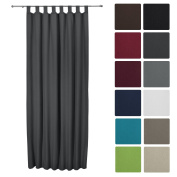 Beautissu® Thermal-Curtain Amelie with Loops - 140x245 cm Anthracite - Isolating Curtain Loop-Curtain