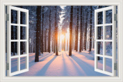 3D Wallpaper Wall Sticker Sunset Snow Forest Tree Winter Landscape Vinyl Decal 80cm x 120cm