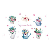 Winhappyhome Hand-painted Printed Flower Potted Plants Wall Art Stickers for Bedroom Living Room Coffee Shop Window Background Removable Decor Decals